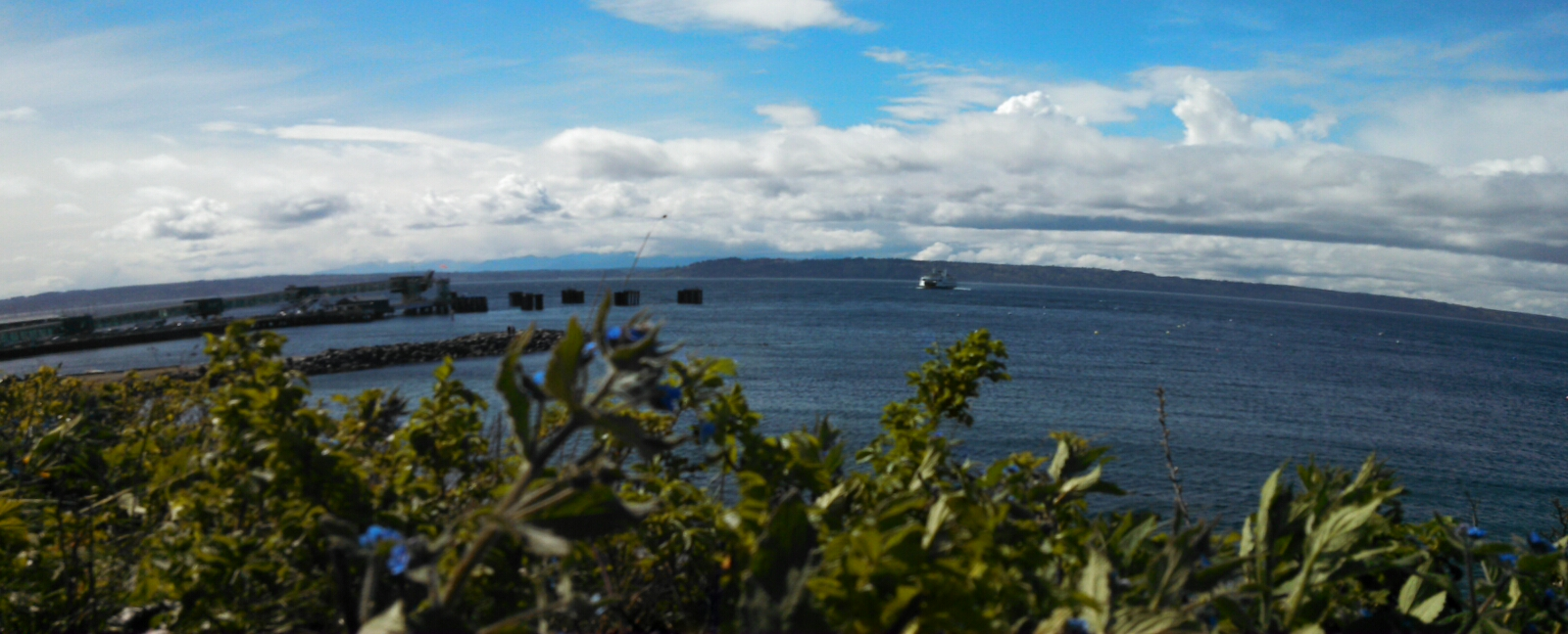 Panoramic  view of Edmonds dock into Puget Sound